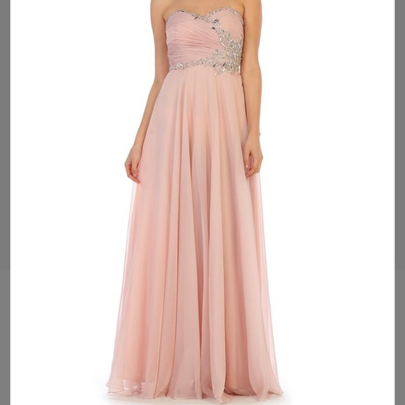 Blush Shimmer Formal Sweetheart Gown
